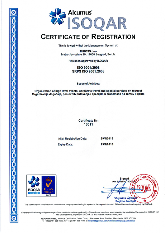 Quality confirmed: Miross received ISO 9001 certification